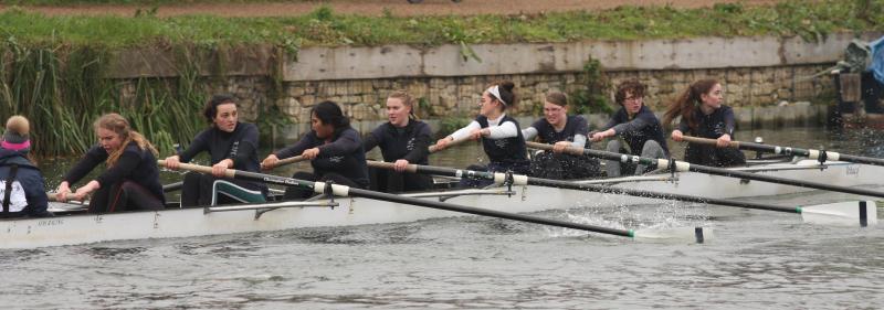 Women's novice boat racing in Christ Church Regatta