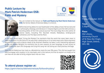public lecture by mark patrick hederman osb faith and mystery