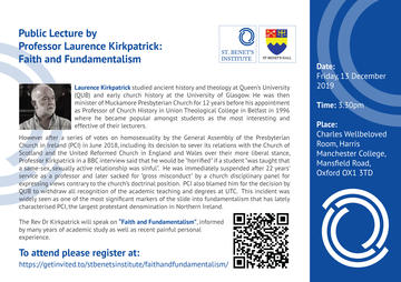 public lecture by professor laurence kirkpatrick faith and fundamentalism